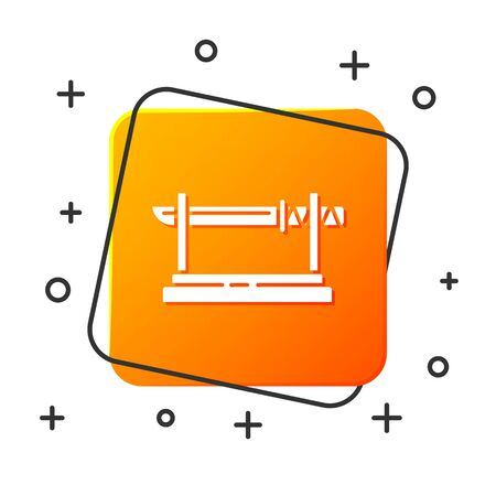 White Traditional Japanese katana on a wooden stand icon isolated on white background. Japanese sword. Orange square button. Vector Illustration Ilustração Vetorial