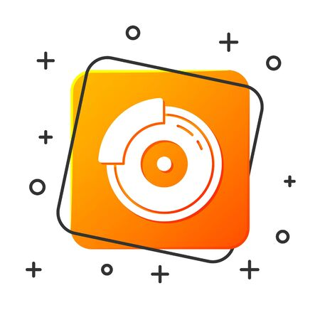 White Car brake disk with caliper icon isolated on white background. Orange square button. Vector Illustration Foto de archivo - 134879790