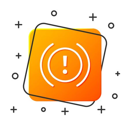 White Brake system warning icon isolated on white background. Exclamation mark in the car. Dashboard attention sign. Orange square button. Vector Illustration