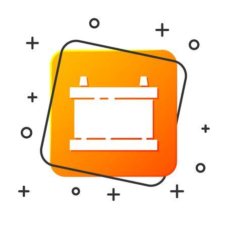 White Car battery icon isolated on white background. Accumulator battery energy power and electricity accumulator battery. Orange square button. Vector Illustration Иллюстрация