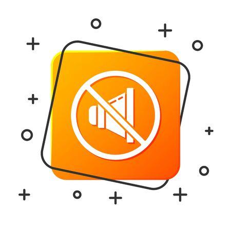 White Speaker mute icon isolated on white background. No sound icon. Volume Off symbol. Orange square button. Vector Illustration