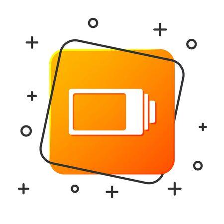White Battery charge level indicator icon isolated on white background. Orange square button. Vector Illustration Ilustração