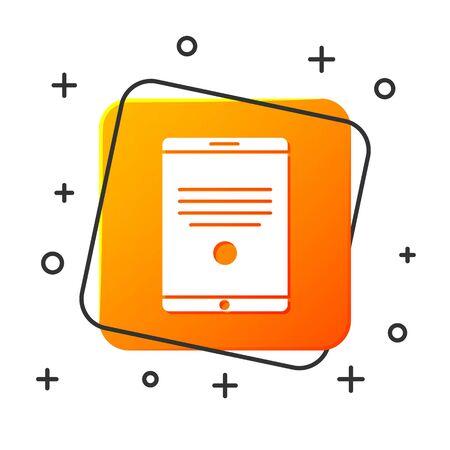 White Tablet icon isolated on white background. Orange square button. Vector Illustration Illustration