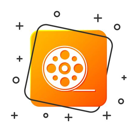 White Film reel icon isolated on white background. Orange square button. Vector Illustration