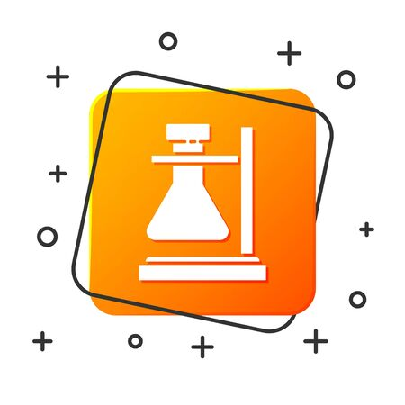 White Glass test tube flask on stand icon isolated on white background. Laboratory equipment. Orange square button. Vector Illustration