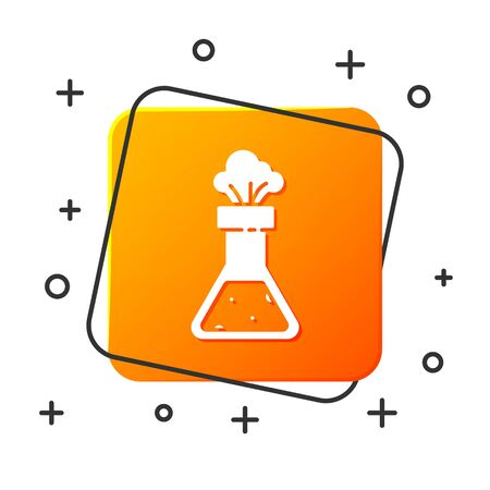 White Test tube and flask chemical laboratory test icon isolated on white background. Laboratory glassware sign. Orange square button. Vector Illustration