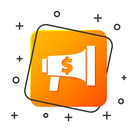 White Megaphone and dollar icon isolated on white background. Loud speach alert concept. Bullhorn for Mouthpiece scream promotion. Orange square button. Vector Illustration