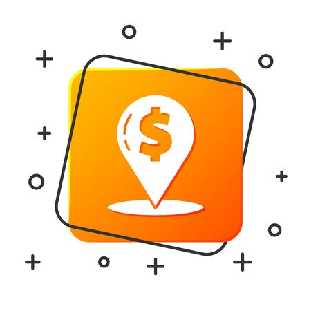 White Cash location pin icon isolated on white background. Pointer and dollar symbol. Money location. Business and investment concept. Orange square button. Vector Illustration