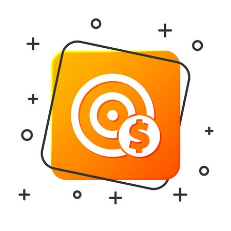 White Target with dollar symbol icon isolated on white background. Investment target icon. Successful business concept. Cash or Money. Orange square button. Vector Illustration Иллюстрация