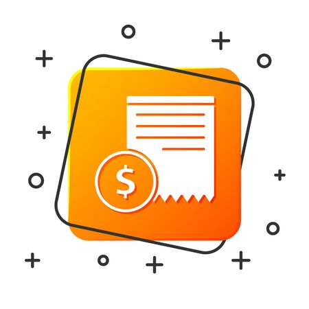 White Paper check and financial check icon isolated on white background. Paper print check, shop receipt or bill. Orange square button. Vector Illustration