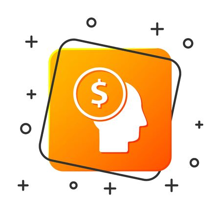 White Business man planning mind icon isolated on white background. Human head with dollar. Idea to earn money. Business investment growth. Orange square button. Vector Illustration Ilustracja