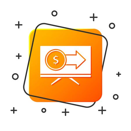 White Monitor with dollar symbol icon isolated on white background. Online shopping concept. Earnings in the Internet, marketing. Orange square button. Vector Illustration