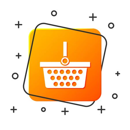 White Shopping basket icon isolated on white background. Online buying concept. Delivery service sign. Shopping cart symbol. Orange square button. Vector Illustration