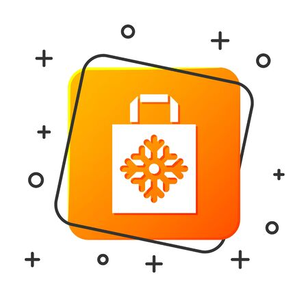 White Christmas paper shopping bag icon isolated on white background. Package sign. Merry Christmas and Happy New Year. Orange square button. Vector Illustration