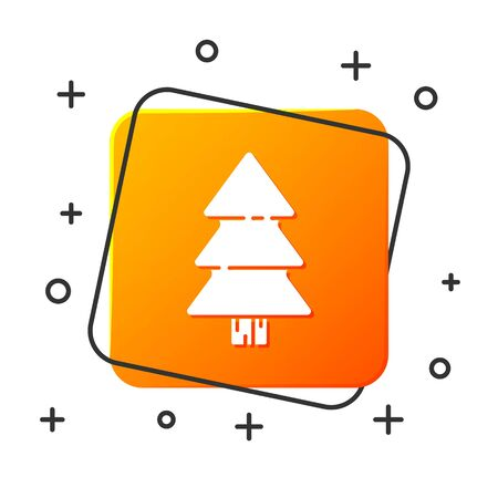 White Christmas tree icon isolated on white background. Merry Christmas and Happy New Year. Orange square button. Vector Illustration