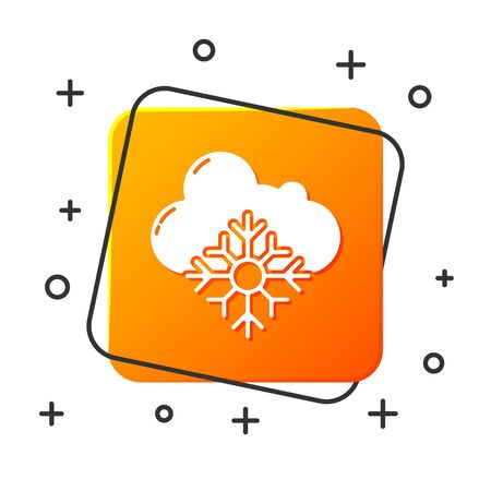 White Cloud with snow icon isolated on white background. Cloud with snowflakes. Single weather icon. Snowing sign. Orange square button. Vector Illustration