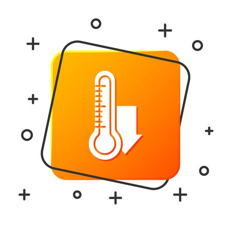 White Meteorology thermometer measuring icon isolated on white background. Thermometer equipment showing hot or cold weather. Orange square button. Vector Illustration Ilustracja