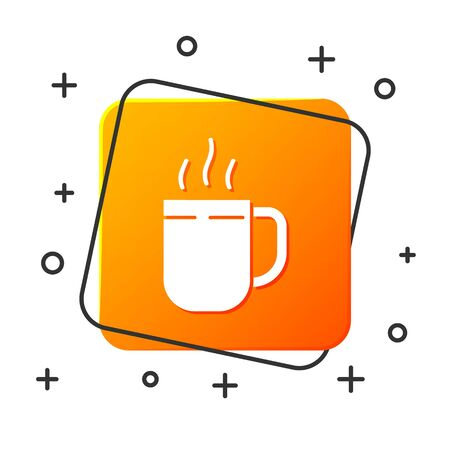 White Coffee cup icon isolated on white background. Tea cup. Hot drink coffee. Orange square button. Vector Illustration