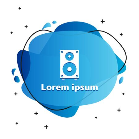 White Stereo speaker icon isolated on white background. Sound system speakers. Music icon. Musical column speaker bass equipment. Abstract banner with liquid shapes. Vector Illustration Illusztráció