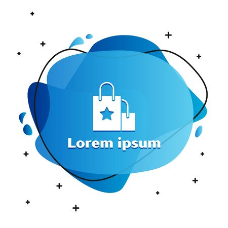 White Paper shopping bag icon isolated on white background. Package sign. Abstract banner with liquid shapes. Vector Illustration