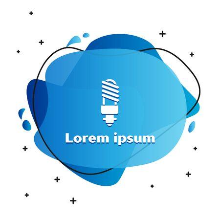 White LED light bulb icon isolated on white background. Economical LED illuminated lightbulb. Save energy lamp. Abstract banner with liquid shapes. Vector Illustration