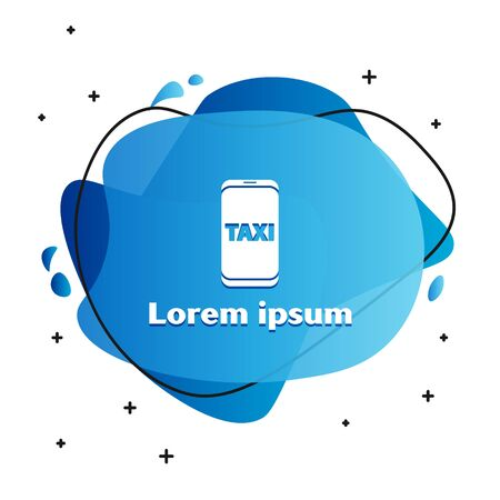 White Taxi call telephone service icon isolated on white background. Taxi for smartphone. Abstract banner with liquid shapes. Vector Illustration