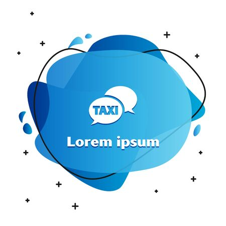 White Taxi call telephone service icon isolated on white background. Speech bubble symbol. Taxi for smartphone. Abstract banner with liquid shapes. Vector Illustration Illustration