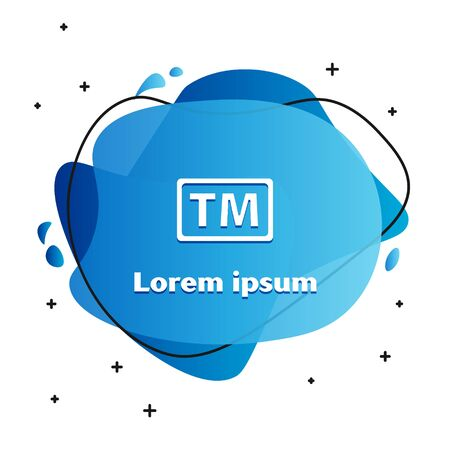 White Trademark icon isolated on white background. Abbreviation of TM. Abstract banner with liquid shapes. Vector Illustration