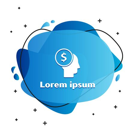 White Business man planning mind icon isolated on white background. Human head with dollar. Idea to earn money. Business investment growth. Abstract banner with liquid shapes. Vector Illustration