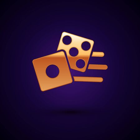 Gold Game dice icon isolated on dark blue background. Casino gambling. Vector Illustration Illusztráció