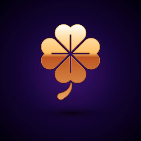 Gold Four leaf clover icon isolated on dark blue background. Happy Saint Patrick day. Vector Illustration Stock Vector - 134901034