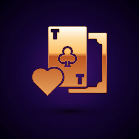 Gold Playing card with clubs symbol icon isolated on dark blue background. Casino gambling. Vector Illustration