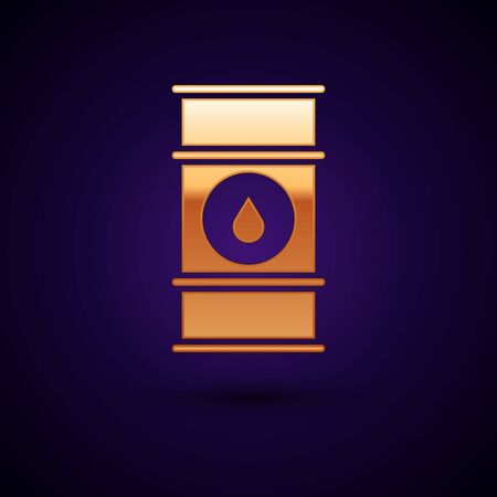 Gold Oil barrel line icon isolated on dark blue background. Oil drum container. For infographics, fuel, industry, power, ecology. Vector Illustration