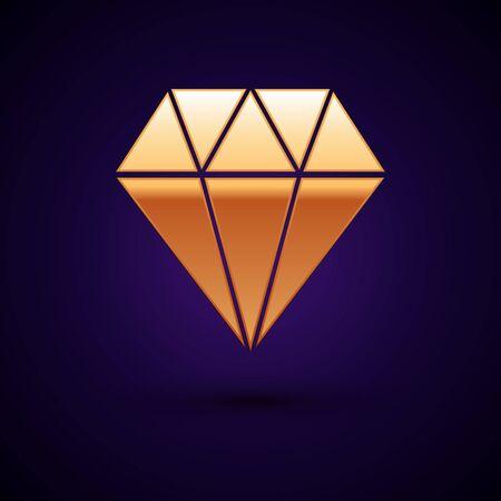 Gold Diamond icon isolated on dark blue background. Jewelry symbol. Gem stone. Vector Illustration