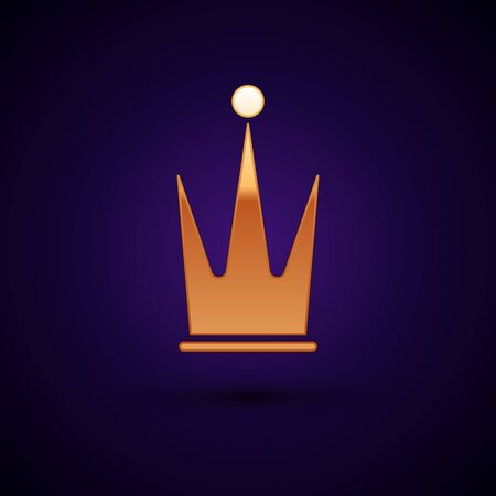 Gold Crown icon isolated on dark blue background. Vector Illustration