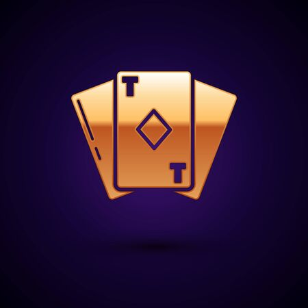 Gold Playing card with diamonds symbol icon isolated on dark blue background. Casino gambling. Vector Illustration