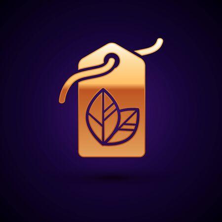 Gold Tag with leaf symbol icon isolated on dark blue background. Çizim