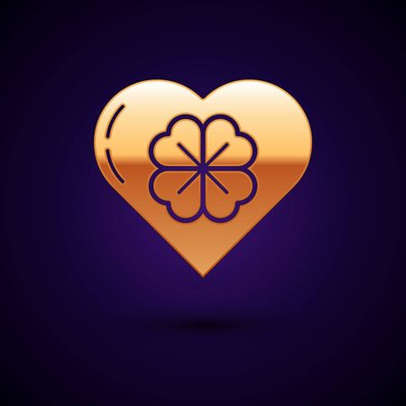 Gold Heart with four leaf clover icon isolated on dark blue background. Happy Saint Patrick day. Vector Illustration Illustration