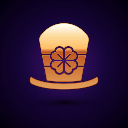 Gold Leprechaun hat and four leaf clover icon isolated on dark blue background. Happy Saint Patricks day. Vector Illustration Illustration