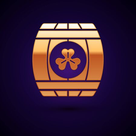 Gold Wooden barrel with four leaf clover icon isolated on dark blue background. Alcohol barrel, wooden keg for beer, whiskey, wine. Vector Illustration