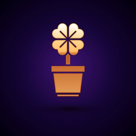 Gold Four leaf clover in pot icon isolated on dark blue background. Happy Saint Patrick day. Vector Illustration