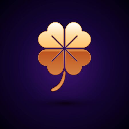 Gold Four leaf clover icon isolated on dark blue background. Happy Saint Patrick day. Vector Illustration