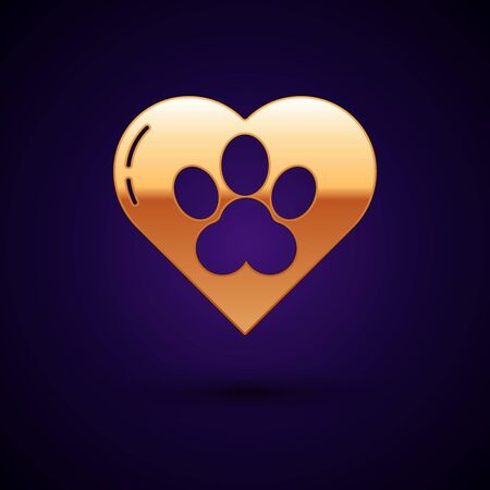 Gold Heart with animals footprint icon isolated on dark blue background. Pet paw in heart. Love to the animals. Vector Illustration Фото со стока - 134896220