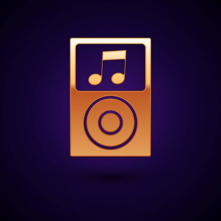 Gold Music player icon isolated on dark blue background. Portable music device. Vector Illustration Фото со стока - 134896626