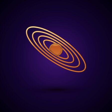 Gold Planet icon isolated on dark blue background. Vector Illustration Standard-Bild - 134901334