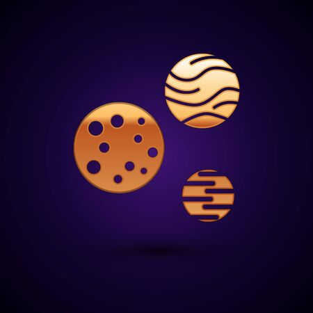 Gold Planet icon isolated on dark blue background. Vector Illustration Standard-Bild - 134901336
