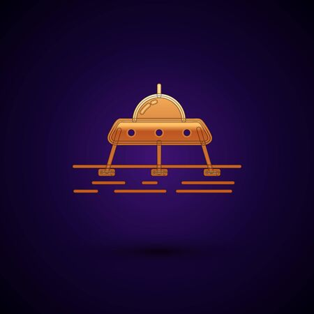 Gold Mars rover icon isolated on dark blue background. Space rover. Moonwalker sign. Apparatus for studying planets surface. Vector Illustration