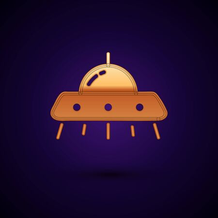 Gold UFO flying spaceship icon isolated on dark blue background. Flying saucer. Alien space ship. Futuristic unknown flying object. Vector Illustration Standard-Bild - 134901339