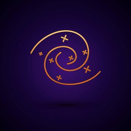 Gold Black hole icon isolated on dark blue background. Space hole. Collapsar.  Vector Illustration Standard-Bild - 134896644