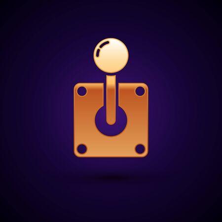 Gold Joystick for arcade machine icon isolated on dark blue background. Joystick gamepad. Vector Illustration